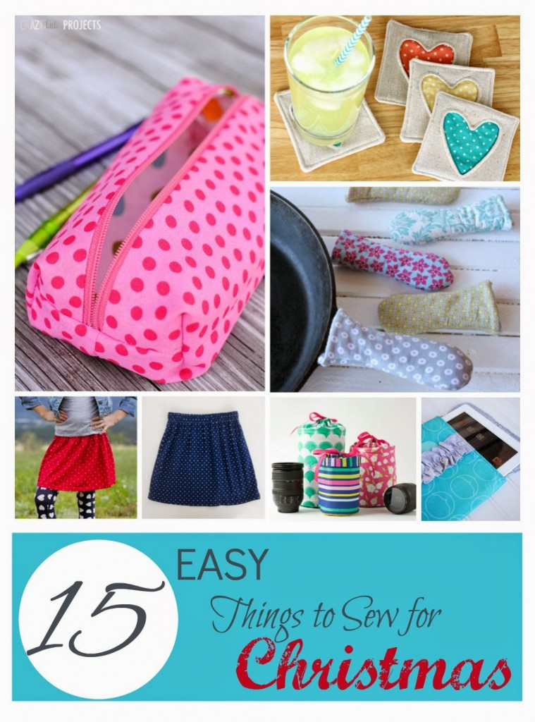 This is a roundup of 25 things to sew for Christmas and it includes everything from apparel (need a new holiday dress for yourself or your little girl?), easy to sew stockings, decor ideas like fabric banners, fun holiday throw pillows and hand towels, and some fun a quirky Christmas sewing projects like a fun Santa apron or Santa bag as well.